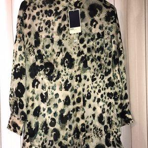 Zara Oversized Sheer Satin Blouse